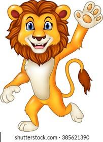 Cartoon funny lion waving