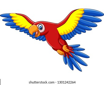 Cartoon funny macaw flying
