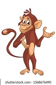 Cartoon funny monkey chimpanzee illustration isolated on white