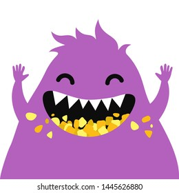 Cartoon Funny Monster. Vector Illustration For Backgrounds, Logos, Stickers, Labels, Tags And Other Design.