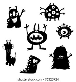 Cartoon funny monsters silhouettes