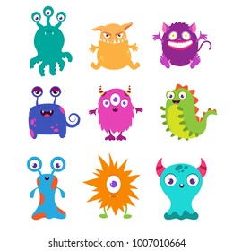 Cartoon funny monsters vector set for t-shirt design. Monster character animal, happy alien demon drawing illustration