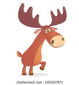 Cartoon funny moose. Vector illustration isolated