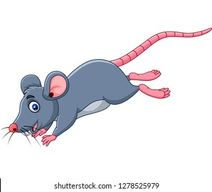 Cartoon funny mouse jumping