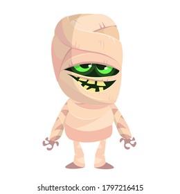 Cartoon funny mummy. Vector illustration of mummy monster for Halloween isolated