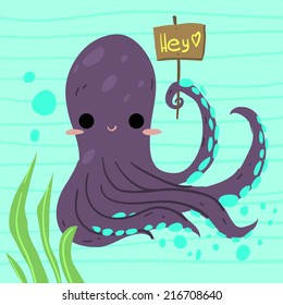 Cartoon funny octopus flat icon. The vector illustration for ui, web games, tablets, wallpapers, and patterns.