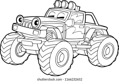 cartoon funny off road vector truck - isolated coloring page