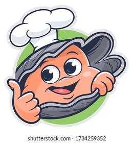 Cartoon funny oyster cook on the green round background.