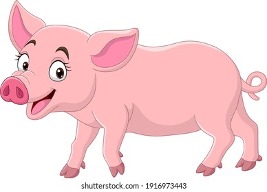 Cartoon funny pig on white background