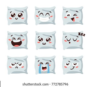 Cartoon funny pillows isolated on white background. Hand drawn emoji. Vector emoticon illustration