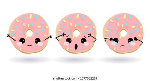 Cartoon funny pink donut. Hand drawn set of emoji. Vector emoticon illustration food