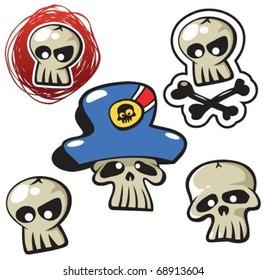 cartoon funny pirate skull icon