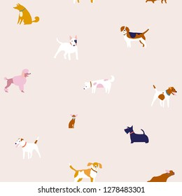 Cartoon funny puppies dog seamless pattern in vector. Breed of dogs illustration in vector