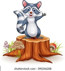 Cartoon funny raccoon cartoon waving hand on tree stump