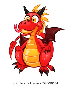 Cartoon funny red dragon on the white background.