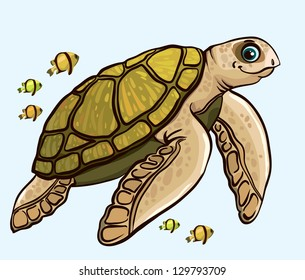Cartoon funny sea turtle with yellow fish