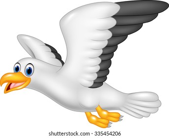 Cartoon funny seagull isolated on white background