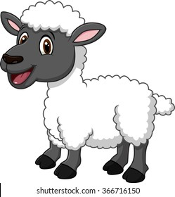 Cartoon funny sheep posing isolated on white background