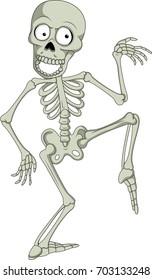 Cartoon funny skeleton dancing