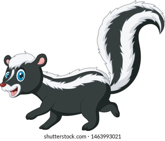 Cartoon funny skunk walk again