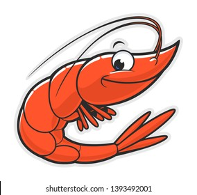 Cartoon funny smiling shrimp on the white background.