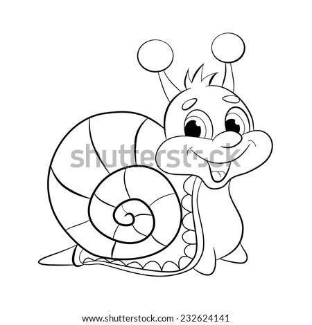 Cartoon Funny Snail Coloring Book Stock Vector (Royalty Free ...