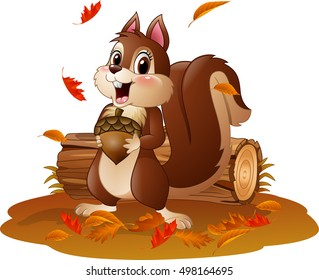 Cartoon funny squirrel holding pine cone in the autumn weather