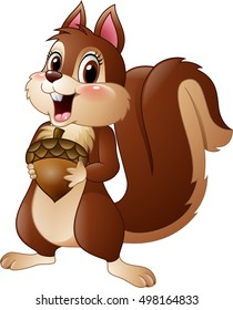 Cartoon funny squirrel holding pine cone