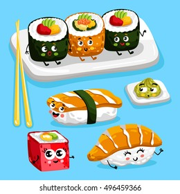 Cartoon funny sushi food characters isolated vector illustration. Funny food face icon. Sushi emoji. Funny roll, laughing sushi. Cartoon emoticon face of Japanese food. Funny food. Cute roll and sushi
