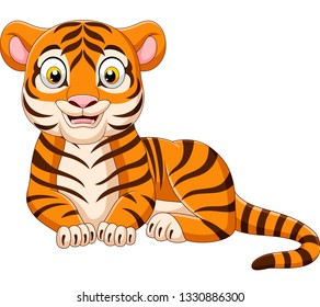 cartoon funny tiger isolated on white background