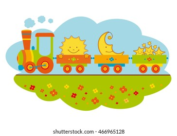 Cartoon funny train with sun, moon, stars. Vector illustration for baby background.