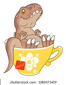 Cartoon funny tyrannosaurus in yellow tea cup.