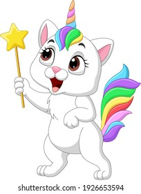 Cartoon funny unicorn cat holding magic wand
