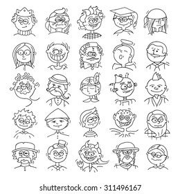 Cartoon funny user avatars in trendy hand drawn doodle style. Set of men faces with different emotions, professions, hobby. Cute vector illustration isolated on white.