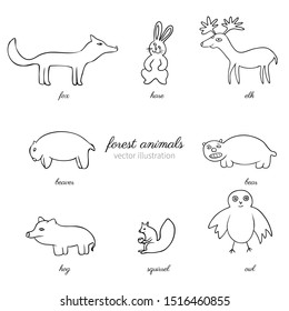 Cartoon funny vector forest animals isolated on white, hand drawn line art sketch, decorative wild mammal set, doodle hand drawn cute illustration line art, Character design for baby card, pattern