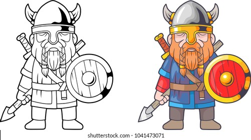 cartoon funny viking, coloring book