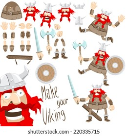 Cartoon funny viking. Northern warrior of separate parts - you can easily change posture, facial expression, weapons, helmet.
