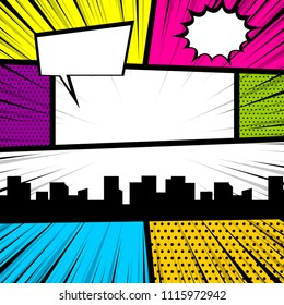 Cartoon funny vintage strip comic city view. Pop art comics book magazine cover template.Text speech bubble balloon, box message, burst bomb. Vector colored halftone illustration. Blank humor graphic