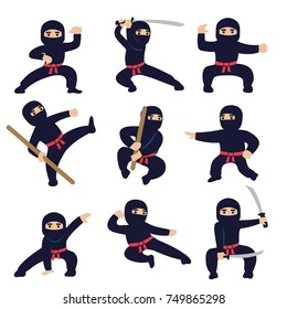 Cartoon funny warriors. Ninja or samurai vector characters. Ninja warrior samurai in mask with weapon sword illustration