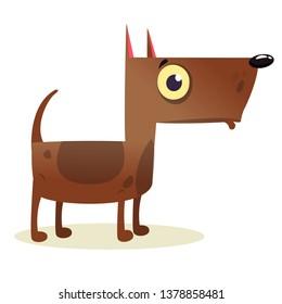 Cartoon Funny Watchdog Pitbull Dog  Illustration