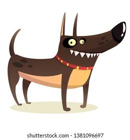 Cartoon Funny Watchdog Pitbull Illustration
