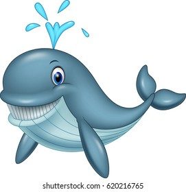 Cartoon funny whale