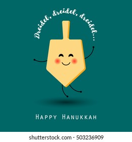 Cartoon funny wooden dreidel for Hanukkah Jewish holiday. Happy Hanukkah. Concept design. Happy Hanukkah vector illustration. Hanukkah holiday greeting card. Happy Hanukkah design symbol or icon