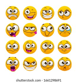 Cartoon funny yellow faces. Comic emoji set. Vector isolated icons. Facial stickers for messaging.
