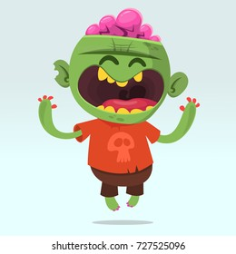 Cartoon funny zombie. Halloween vector illustration of happy monster