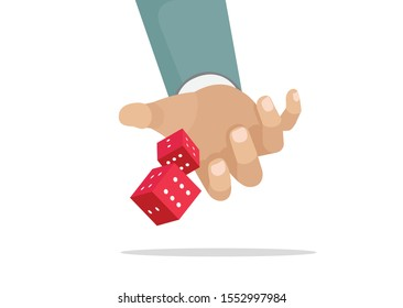 Cartoon, gambling and business risk concept, Businessman hand throwing dice, take a chance.,vector eps10