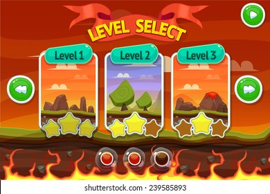 Cartoon game design - nature landscape, background stone, mountains, clouds