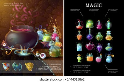 Cartoon game elements composition with medieval weapons witch cauldron bottles and flasks of different colorful magic potions and elixirs vector illustration