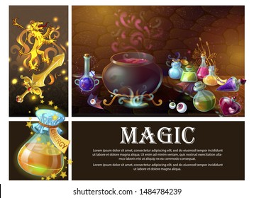 Cartoon game elements composition with sword heraldic royal lion human eyes witch cauldron and bottles of magic potions vector illustration