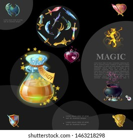 Cartoon game template with swords daggers shields heraldic royal lion witch cauldron bottles of energy and love magic potions vector illustration